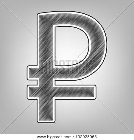 Ruble sign. Vector. Pencil sketch imitation. Dark gray scribble icon with dark gray outer contour at gray background.