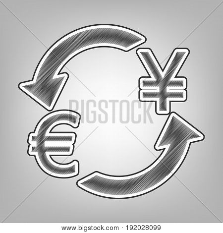 Currency exchange sign. Euro and Japan Yen. Vector. Pencil sketch imitation. Dark gray scribble icon with dark gray outer contour at gray background.