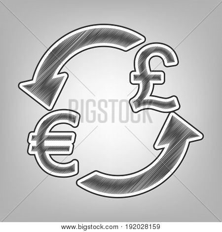 Currency exchange sign. Euro and UK Pound. Vector. Pencil sketch imitation. Dark gray scribble icon with dark gray outer contour at gray background.