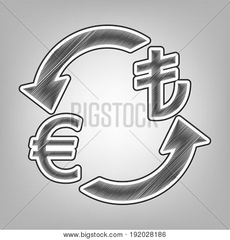 Currency exchange sign. Euro and Turkey Lira. Vector. Pencil sketch imitation. Dark gray scribble icon with dark gray outer contour at gray background.