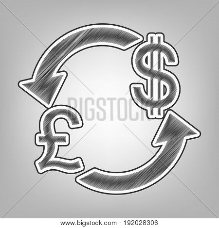 Currency exchange sign. UK: Pound and US Dollar. Vector. Pencil sketch imitation. Dark gray scribble icon with dark gray outer contour at gray background.