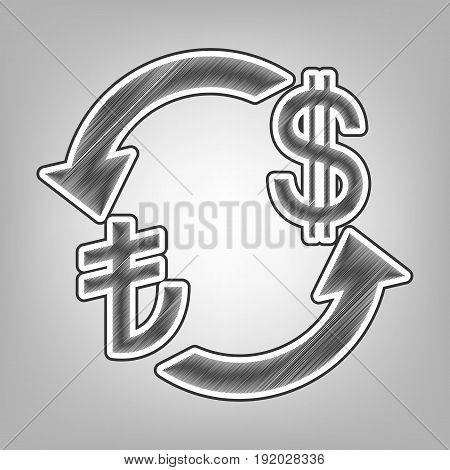 Currency exchange sign. Turkey Lira and US Dollar. Vector. Pencil sketch imitation. Dark gray scribble icon with dark gray outer contour at gray background.