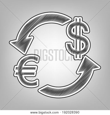 Currency exchange sign. Euro and US Dollar. Vector. Pencil sketch imitation. Dark gray scribble icon with dark gray outer contour at gray background.