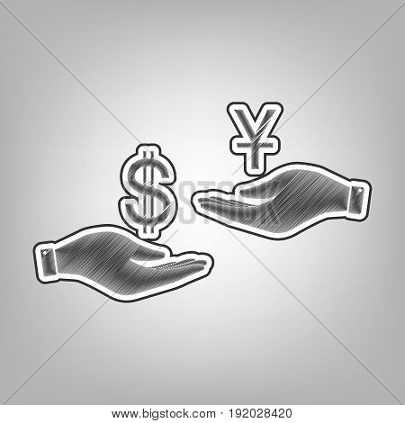 Currency exchange from hand to hand. Dollar and Yuan. Vector. Pencil sketch imitation. Dark gray scribble icon with dark gray outer contour at gray background.