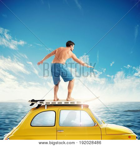 Old yellow car with a surfing boy over the roof. 3D rendering
