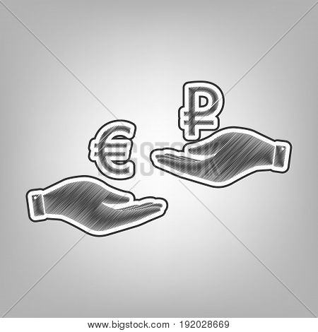 Currency exchange from hand to hand. Euro and Ruble. Vector. Pencil sketch imitation. Dark gray scribble icon with dark gray outer contour at gray background.