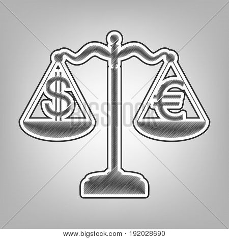 Justice scales with currency exchange sign. Vector. Pencil sketch imitation. Dark gray scribble icon with dark gray outer contour at gray background.