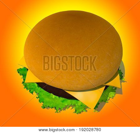 The perfect hamburger 3D render on background