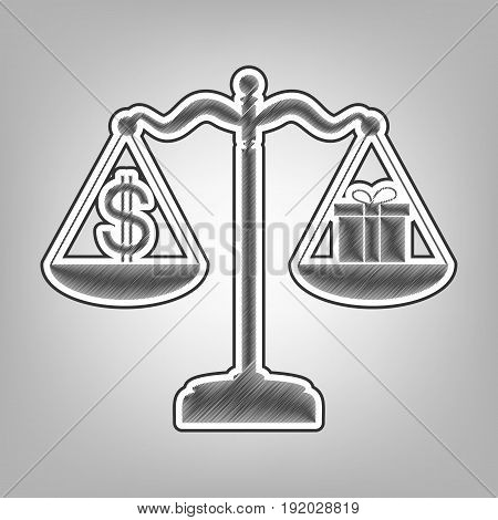 Gift and dollar symbol on scales. Vector. Pencil sketch imitation. Dark gray scribble icon with dark gray outer contour at gray background.