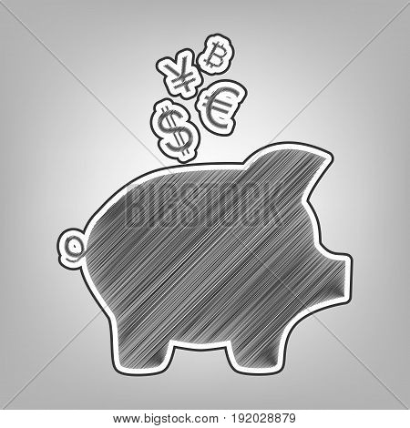 Piggy bank sign with the currencies. Vector. Pencil sketch imitation. Dark gray scribble icon with dark gray outer contour at gray background.