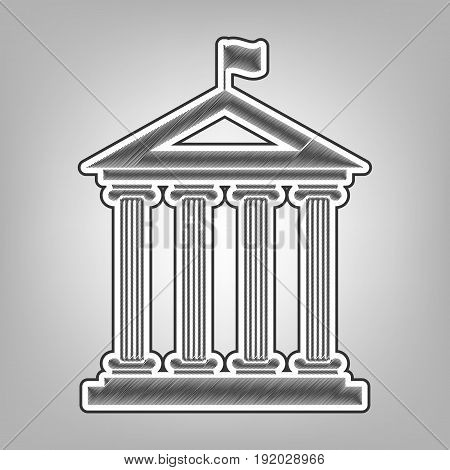 Historical building with flag. Vector. Pencil sketch imitation. Dark gray scribble icon with dark gray outer contour at gray background.
