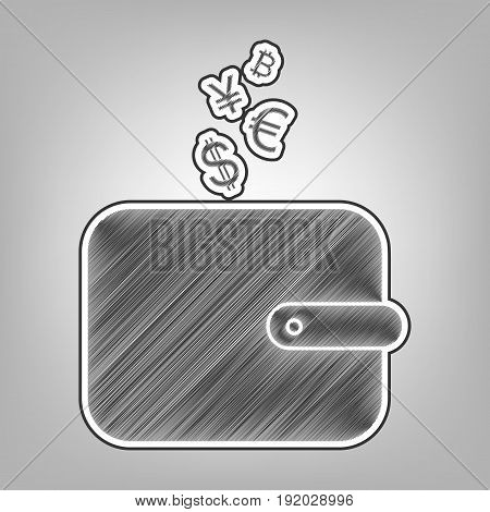Wallet sign with currency symbols. Vector. Pencil sketch imitation. Dark gray scribble icon with dark gray outer contour at gray background.