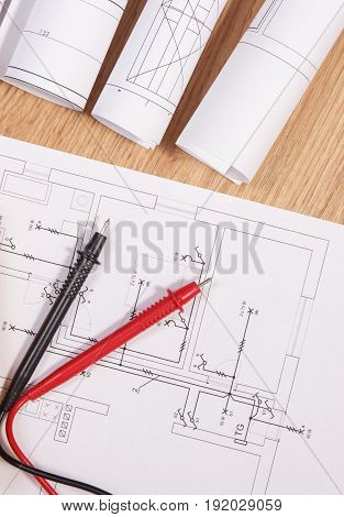 Electrical Diagrams Or Drawings And Cable Of Multimeter For Measurement In Electrical Installation