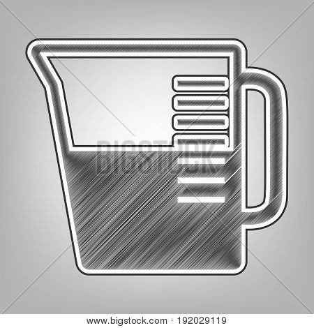 Beaker sign. Vector. Pencil sketch imitation. Dark gray scribble icon with dark gray outer contour at gray background.