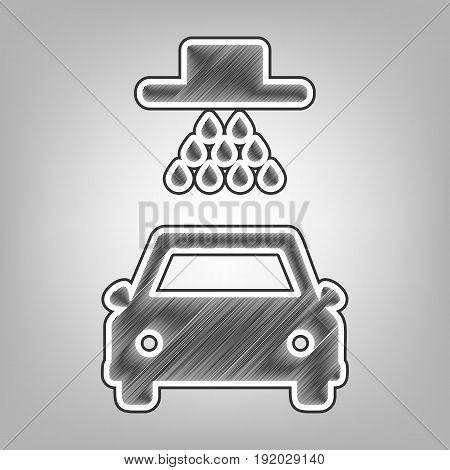 Car wash sign. Vector. Pencil sketch imitation. Dark gray scribble icon with dark gray outer contour at gray background.