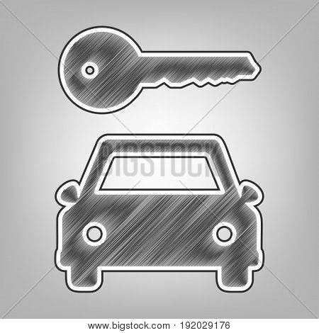 Car key simplistic sign. Vector. Pencil sketch imitation. Dark gray scribble icon with dark gray outer contour at gray background.