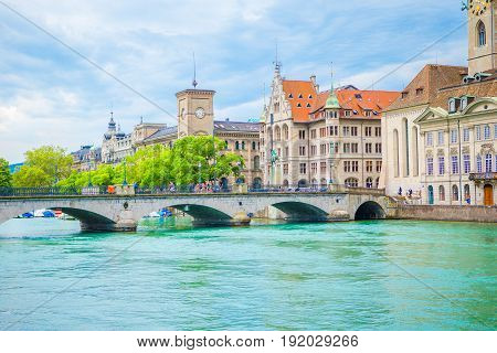 View of the historic city center of Zurich with famous Fraumunster Church and river Limmat