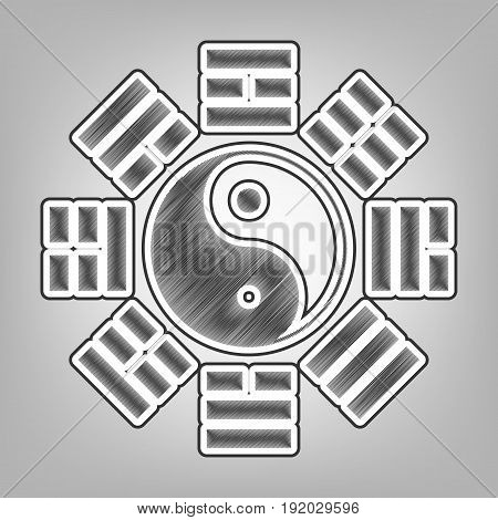 Yin and yang sign with bagua arrangement. Vector. Pencil sketch imitation. Dark gray scribble icon with dark gray outer contour at gray background.