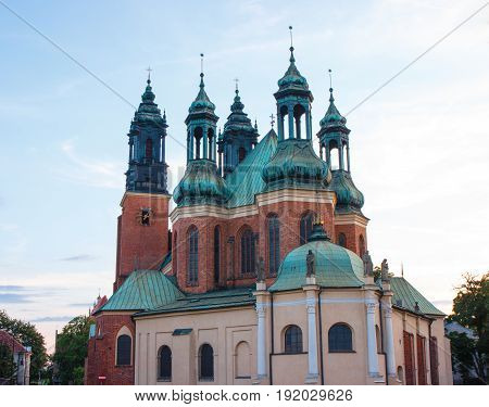 Poznan, Poland - July 1, 2016: View At Sunset On Cathedral Church In Poznan On Ostrow Tumski Square