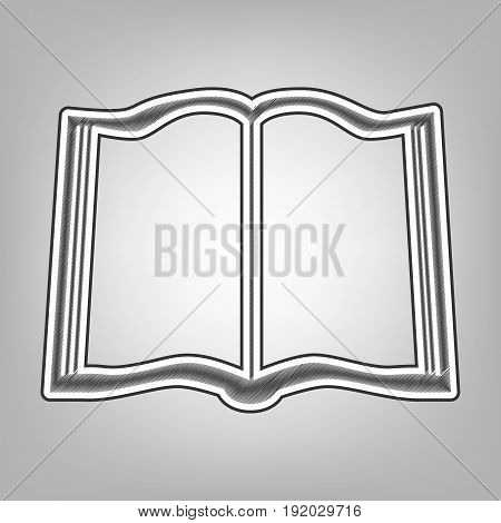 Book sign. Vector. Pencil sketch imitation. Dark gray scribble icon with dark gray outer contour at gray background.