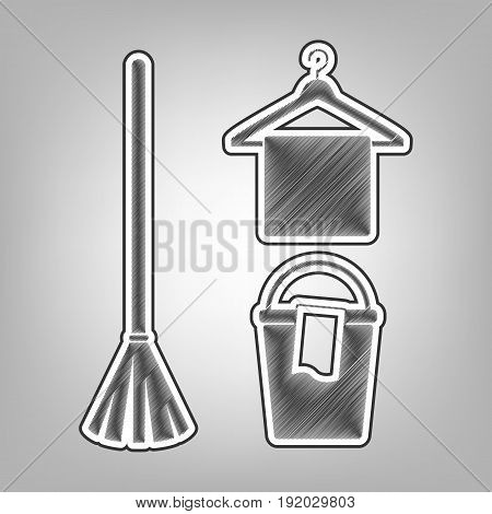 Broom, bucket and hanger sign. Vector. Pencil sketch imitation. Dark gray scribble icon with dark gray outer contour at gray background.