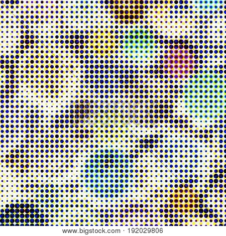 Abstract textured halftone background. Multicolored background of buttons. Buttons of the circle shape of variation textures