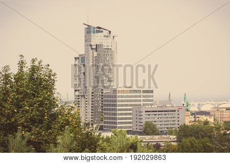Gdynia, Poland - August 20, 2016: Vintage Photo, View On Building Of Sea Towers In Polish Town Gdyni