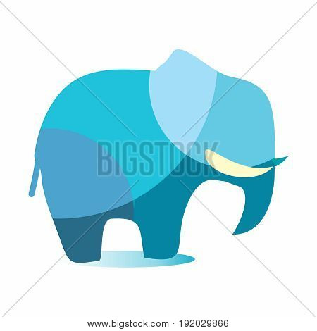 Vector Low Polygonal Crystal Elephant Logo, isolated on white background