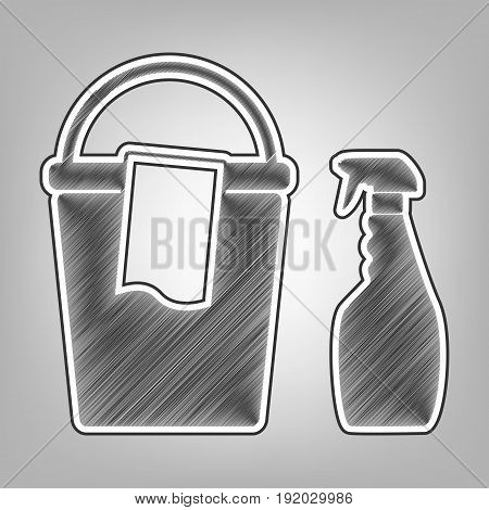 Bucket and a rag with Household chemical bottles. Vector. Pencil sketch imitation. Dark gray scribble icon with dark gray outer contour at gray background.