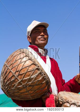 Leh, Jammu And Kashmir, India - Sep 01, 2012: The Ladakhi Man, Drummer With Traditional Drums On The
