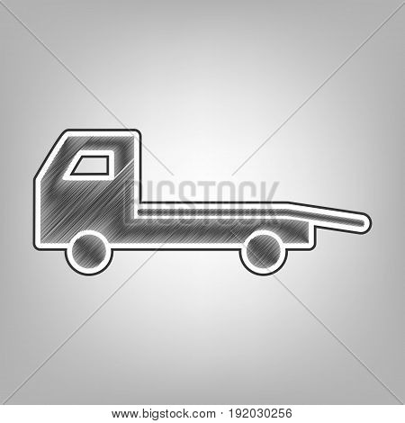 Service of evacuation sign. Wrecking car side. Car evacuator. Vehicle towing. Vector. Pencil sketch imitation. Dark gray scribble icon with dark gray outer contour at gray background.