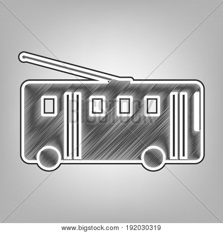 Trolleybus sign. Vector. Pencil sketch imitation. Dark gray scribble icon with dark gray outer contour at gray background.