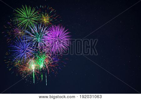 Beautiful Gree Purple Blue Red Fireworks Copy Space