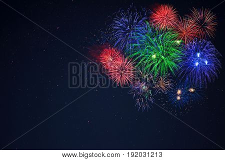 Blue Green Red Fireworks Located Right Side
