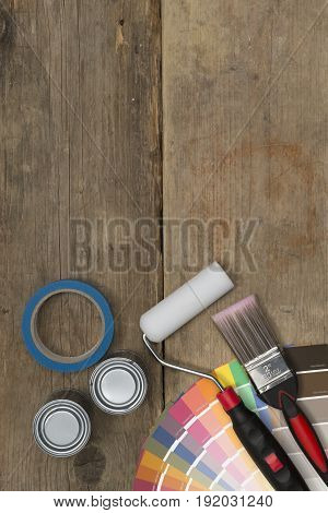 Painting Tools, Supplies, And Swatches On Wood With Copy Space