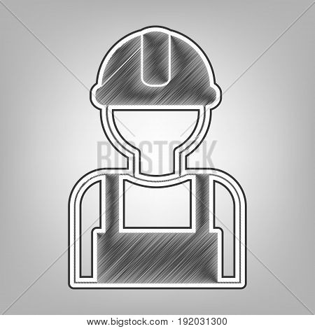 Worker sign. Vector. Pencil sketch imitation. Dark gray scribble icon with dark gray outer contour at gray background.