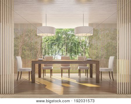 Modern contemporary dining room with nature view 3d rendering image There are wooden floor and ceiling decorated wall with wood lattice Surrounded by nature