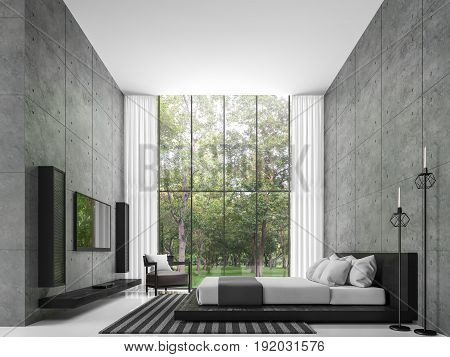 Modern loft bedroom 3d rendering image The room has a high ceiling. There is a polished concrete wall. White floors and large windows overlook the garden furnished with black leather furniture.