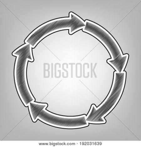Circular arrows sign. Vector. Pencil sketch imitation. Dark gray scribble icon with dark gray outer contour at gray background.