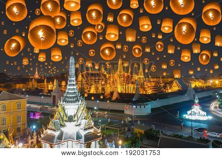 Floating lamp in yee peng festival under loy krathong day at Wat phra kaew and Grand palace at night Beautiful Landmark of Thailand Bangkok
