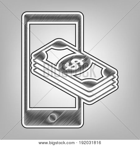 Payment, refill your mobile smart phone, . Vector. Pencil sketch imitation. Dark gray scribble icon with dark gray outer contour at gray background.