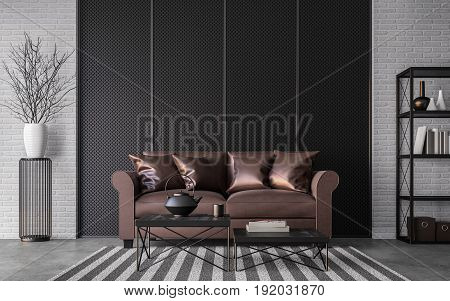 Modern loft living room 3d rendering image Furnished with red brown leather and black steel furniture has white brick walls and steel grating