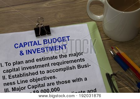 Budget And Investment