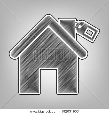 Home silhouette with tag. Vector. Pencil sketch imitation. Dark gray scribble icon with dark gray outer contour at gray background.