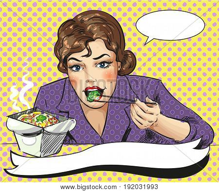 Vector illustration of woman eating takeout food with chopsticks. Fast food chinese restaurant template in retro pop art comic style.