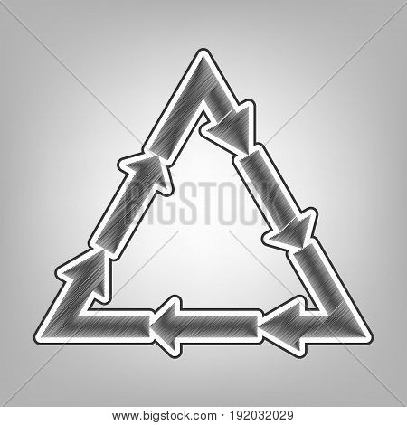 Plastic recycling symbol PVC 3 , Plastic recycling code PVC 3. Vector. Pencil sketch imitation. Dark gray scribble icon with dark gray outer contour at gray background.