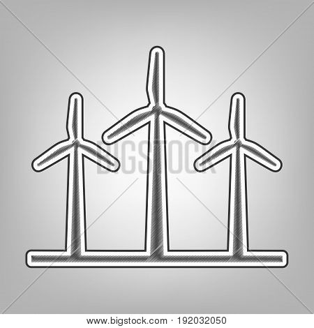 Wind turbines sign. Vector. Pencil sketch imitation. Dark gray scribble icon with dark gray outer contour at gray background.