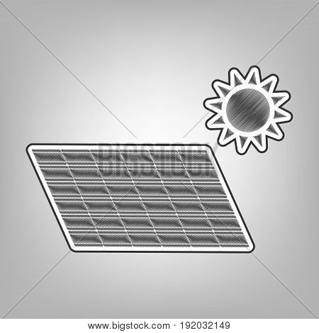 Solar energy panel. Eco trend concept sign. Vector. Pencil sketch imitation. Dark gray scribble icon with dark gray outer contour at gray background.