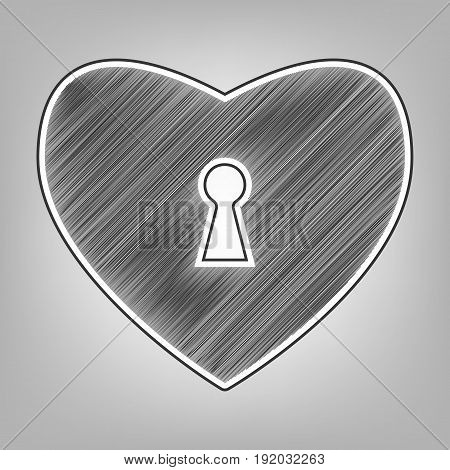 Heart with lock sign. Vector. Pencil sketch imitation. Dark gray scribble icon with dark gray outer contour at gray background.