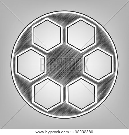 Soccer ball sign. Vector. Pencil sketch imitation. Dark gray scribble icon with dark gray outer contour at gray background.